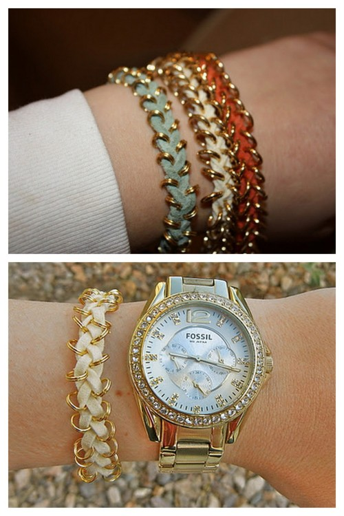 truebluemeandyou: DIY Nordstrom Bracelet. Reblogging because I'm going through trying to make my tags uniform and found another tutorial totally gone - but I found an almost identical one.  DIY Nordstrom Bracelet (the green one is the DIY, the others from Nordstrom). Everything from Michaels. If you can braid, you can do this. Tutorial from Stephanie & Such here. EDIT: This website is now private and the tutorial is no longer available (hate that so much), but I found a similar tutorial by The Pink Ruffle here. Top Photo: Not a DIY anymore from Stephanie & Such, Bottom Photo: DIY from The Pink Ruffle.