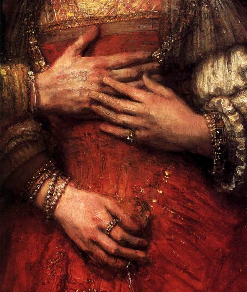 arthistory-blog:  The Jewish Bride (detail), 1667, by Rembrandt