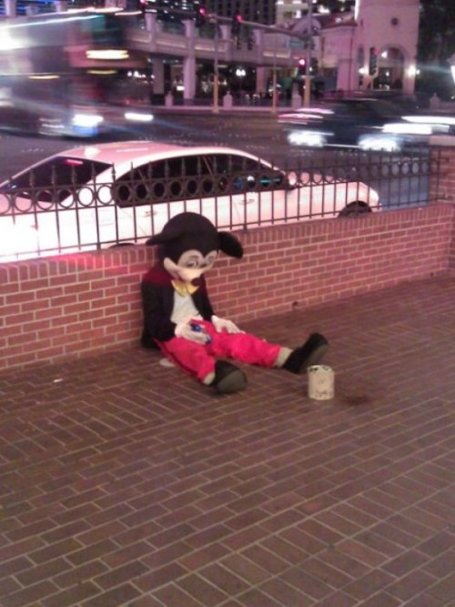 Homeless Mickey Mouse It all went downhill after he walked in on Goofy and Minnie Mouse going at it.