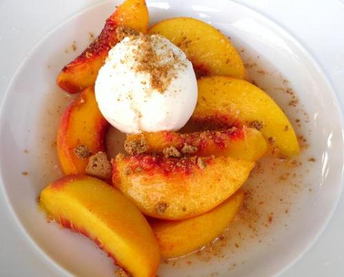 Peaches in Moscato with Vanilla Ice cream…Mmmm who wouldn't like to try some?