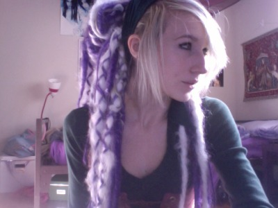 syndreads:  New Dreads! Once again I got too impatient to take pictures before I put them in, I also got too impatient to even dye my hair before I put them in hahaha. So that will happen this weekend XD   White, Lilac, Purple, Medium Purple and Dark Purple Blended and Wrapped/Bondage