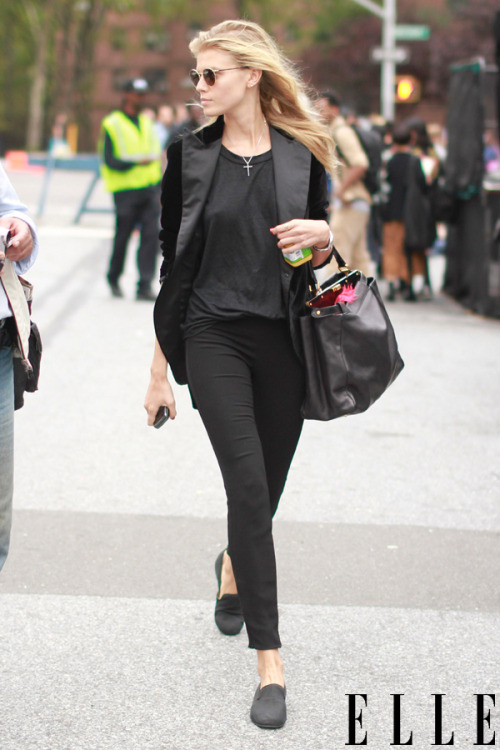 elle:  Slice your way through the streets in a sharp tuxedo blazer a la Maryna Linchuk. Photo: Tim Regas for Cool Hunt