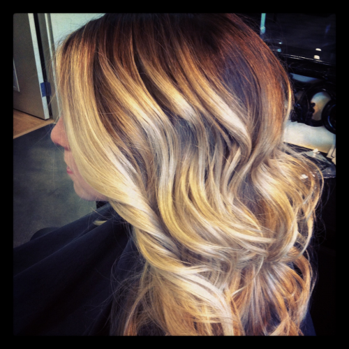 "Ombré color styled out with BB Tonic Spray and Davines Invisible Styling Cream.. 1"" curling iron waves and finished with Davines Crystal Fixative Hairspray."