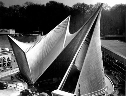 The Xenakis/Le Corbusier Phillips Pavillion, at Expo-58, Bruxelles, 1958