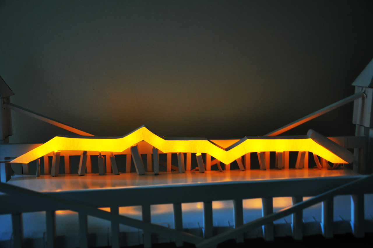 3 x 10⁸ ms is an interactive light sculpture installed on a bridge. This work allows the audience to communicate from one end of the bridge to the other through light impulses. Light impulses are triggered by hand gestures covering a light sensitive interface. The patterns of light pulses are determined by the interaction of the user. The array of lights can be fully light up by covering the interface for more than 5 seconds. http://www.zacr8.com/gallery_2011_3x108ms.html Visit my personal website to see more images and video