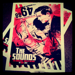 "Latest gig poster: The Sounds at Granada Theater - Dallas, TX, 10 Nov. 2011. Two color screen print on French's white Speckletone cover stock. 19"" x 25"". S/N Edition on 70."