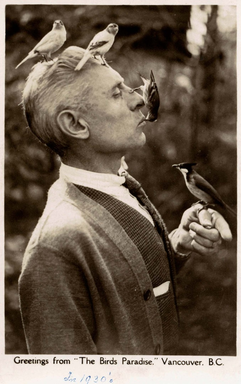 "The Birds Paradise, 1930s Charles E Jones was known as the ""Birdman of Vancouver."" This and other photos of Jones and his birds appeared in the 24 February 1941 issue of Life Magazine. Jones became Vancouver's mayor in 1947. Source: BC postcard collection at SFU Special Collections"