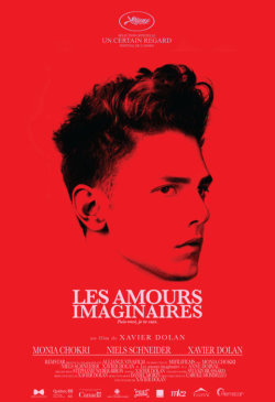 Les amours imaginaires http://www.lesamoursimaginaires.com/ Marie and Francis first meet Nicolas at a dinner party, where there both  feign disinterest in him. Over the course of the next couple of the  weeks, the three form a close friendship, meeting up regularly and even  sleeping together in the same bed. However, it is clear that both Marie  and Francis have an interest in Nicolas beyond friendship; Marie is  visibly disappointed when she hopes to enjoy an intimate meal with  Nicolas at a Vietnamese restaurant, only to see Francis and his friends  there, and Francis is consumed by lust for Nicolas to the extent that he  vigorously masturbates over the smell of Nicolas' clothes when left  alone in his apartment. Both are led on by their interpretation of  Nicolas' actions, such as eating a cherry from Francis' hand and telling  Marie he loves them. Their feelings lead to competition between the two  friends for Nicolas' affections, evidenced by their rivalry over the  gifts they buy for his birthday.