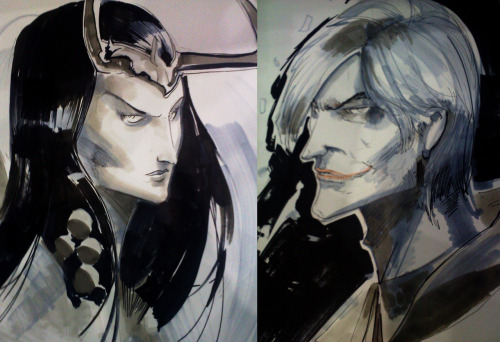 Joker and loki should date now that i think about it, quick head sketches , the guy wanted both for each of his kids  :)