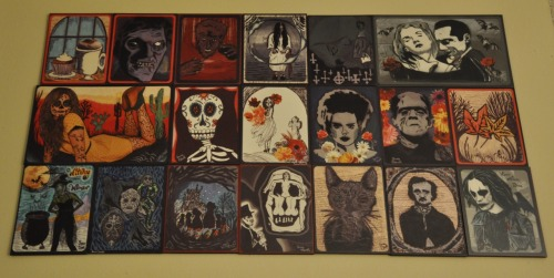 ballin-cupcakez:  temptationtwo:  Finished finally. My Halloween/Fall Wall. My project for the months of September/October. Seeing it up on my wall makes me feel so accomplished. And to know that I made a bunch of people happy makes me feel fucking ecstatic. If anyone still wants one, there are a few available. here, here, here, here, here and here. Just let me know which one you want, put your address here, and away we go.  This is too awesome. (: Thanks for sharing!