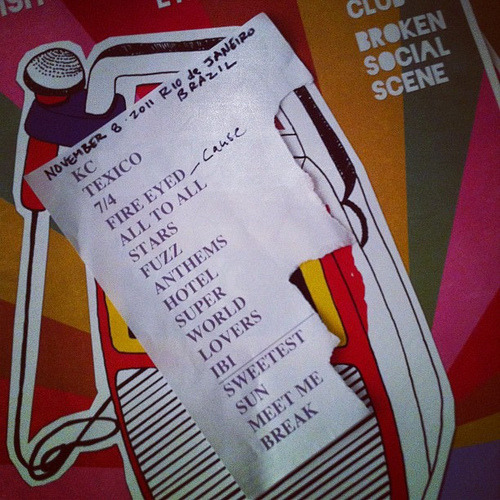 fuckyeahbss:  Setlist from Broken Social Scene's final show in Rio