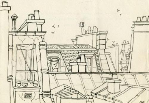 Sylvia Plath, sketch of Paris rooftops nickernuts:  Syliva Plath