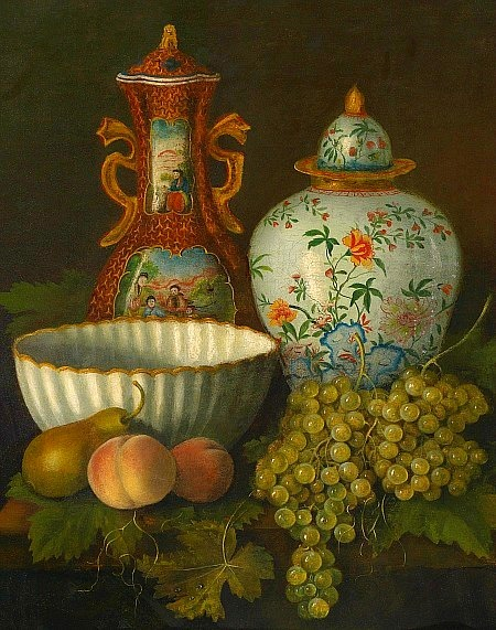 Unknown (German) Still Life with Fruit and Decorative Objects 1890
