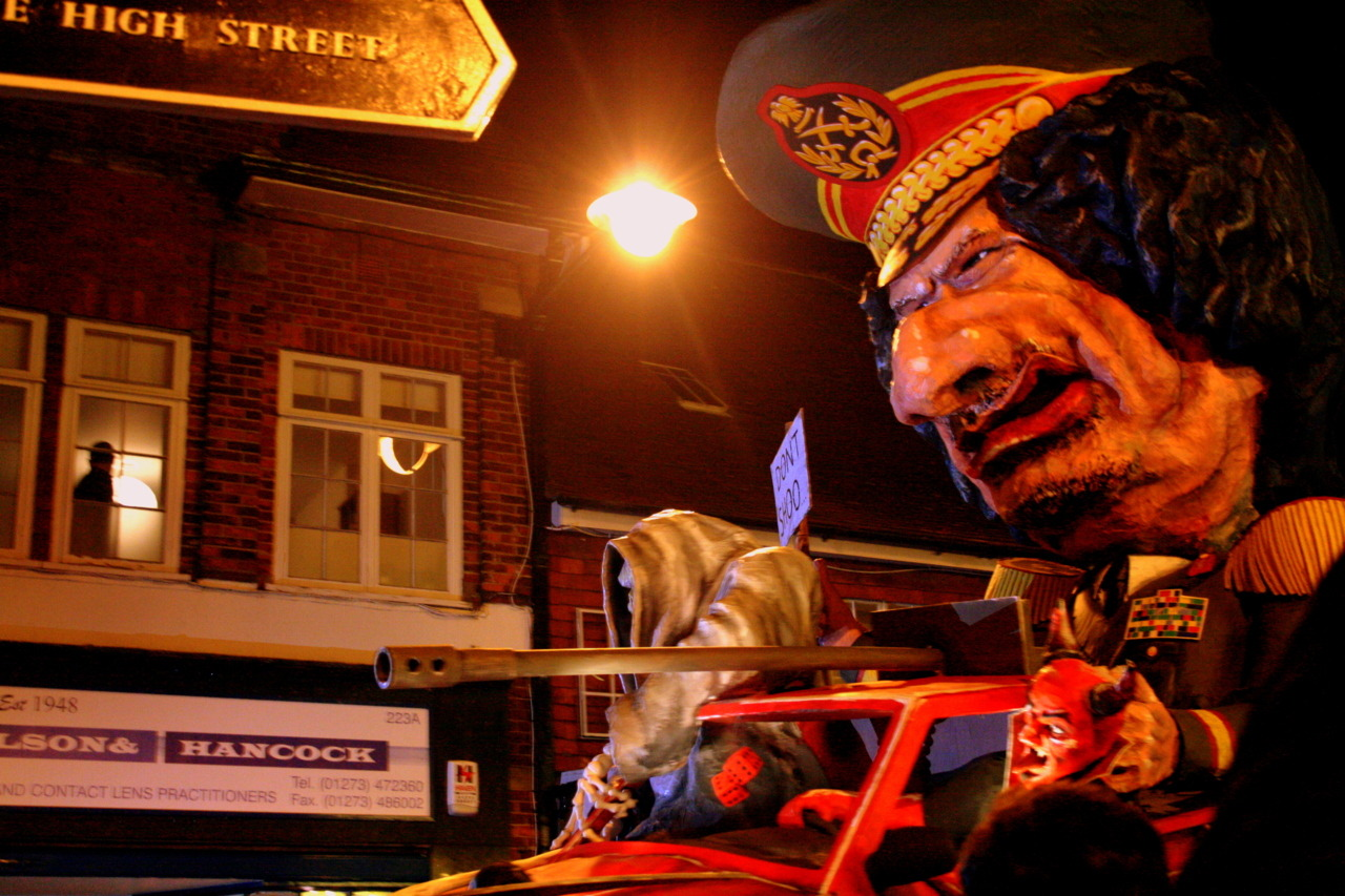 Gadaffi effigy (with 'to hell' written on the rear) at Lewes Bonfire celebrations, UK. November 2011