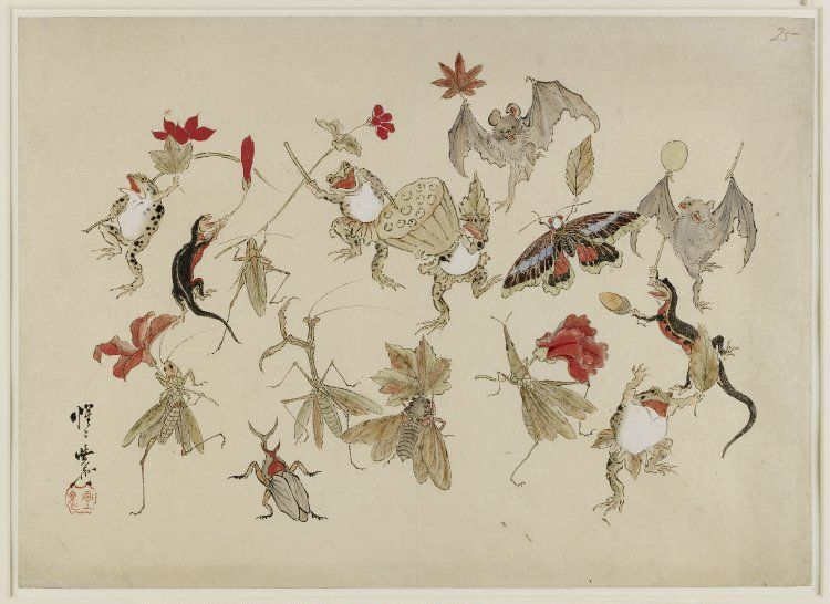 Kawanabe Kyosai Sketch. Animals and insects with autumn fruits and leaves. 1879 link