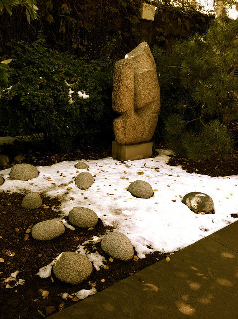 Snow in courtyard on Flickr.Courtyard at Noguchi Museum.  October 30, 2011.