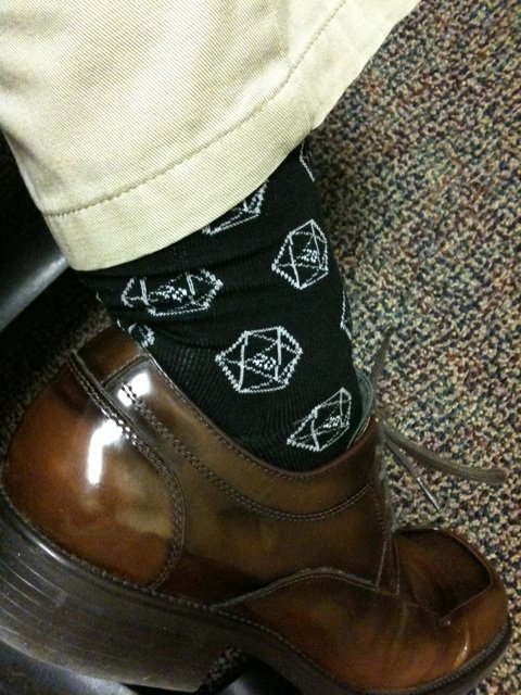 it8bit:   Guys!!  D20 Gamer Dice Socks  Available in Men's AND Women's for $6.99 at Diesel Sweeties.  I will be buying these. :D