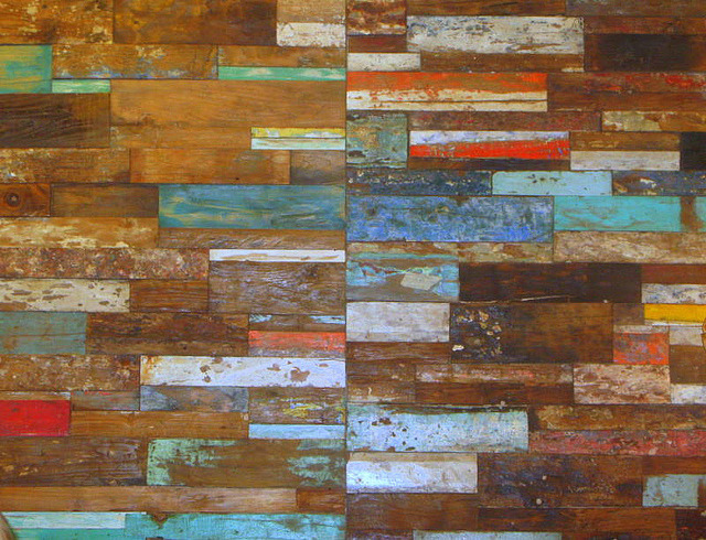 OLD BOATS CUT UP AND USED FOR A WALL . by vermillion$baby on Flickr.