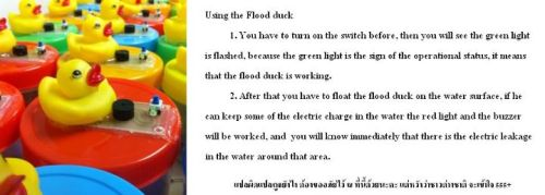 "Electricity Sensing Ducks 1) ""Then look for the blinking green light…"" 2) ""Float the duck on the suspected area. If an electric current can be detected in the area, the red LED light will turn on and the buzzer will beep immediately. This means you should avoid contact and stay away from this area""."