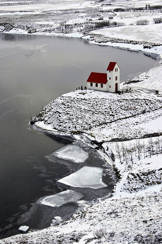 Cold but peaceful This beautiful church is in Iceland by a lake called Úlfljótsvatn (by Ingólfur)