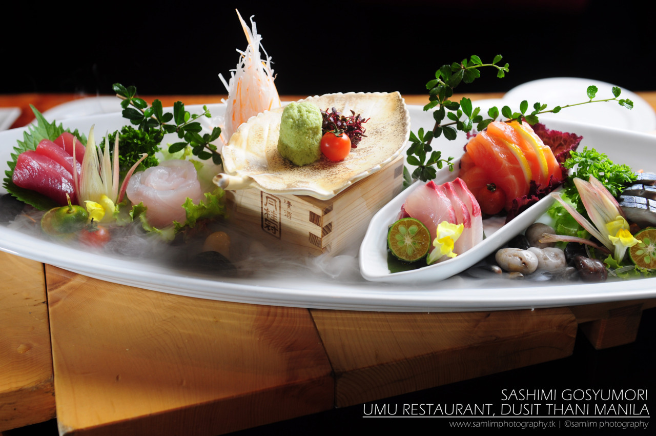 "Sashimi Gosyumori ""A selection of five different fish carefully selected by Chef Hiroyuki Fukata of Umu Restaurant, a premiere Japanese restaurant in Dusit Thani Manila, a luxary Hotel situated in Makati, Philippines.""   Photo by: Sam Lim (http://samlim.tumblr.com/)"