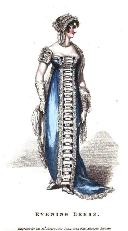 La Belle Assemblee, Evening Dress, July 1812.  I can't quite wrap my mind around that trim (are the loops held together with pearls?!) but it is certainly striking!