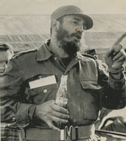 Fidel Castro drinking Coca cola during his visit to Atacama. Chile. 1971