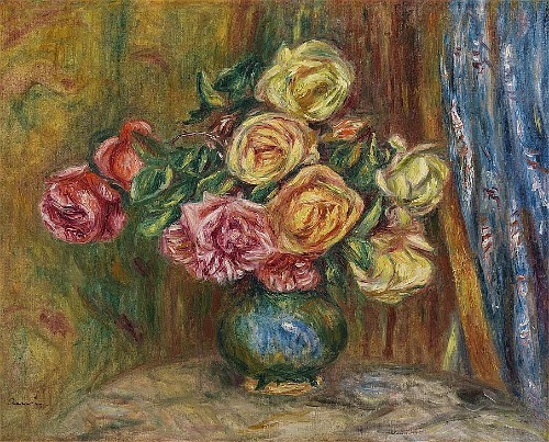 Pierre-Auguste Renoir Roses with Blue Curtain 1912