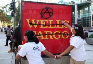 conservativebrew:  99% Losers deposit donation in Wells Fargo bank ( with my emphasis on the delicious irony) OAKLAND (CBS/AP) — A group of Oakland anti-Wall Street protesters who blame large banks for the economic downturn have decided that one of those institutions is the best place to stash their money for now. Protesters at an Occupy Oakland meeting Monday voted to deposit a $20,000 donation into a Wells Fargo account. The move comes just days after one of the Wells Fargo's branches was vandalized during a massive downtown demonstration. An Occupy statement said the money only will be with Wells Fargo temporarily while they work to establish an account with a credit union or community bank. Protesters said it was the easiest way to access the money to bail out people from jail. Wells Fargo spokesman Ruben Pulido said the move demonstrates that Occupy Oakland recognizes the value and service the bank provides its customers. Full blown Loserism on display! What are they really in a row over? They hate the big, bad, evil banks and yet they deposit a donation in the fourth largest bank in the U.S.? Instead of putting their money in an account that may gain interest (Gasp! More capital?!), why don't they REDISTRIBUTE the donation among the other 99% Losers so everyone can be equal and happy? I mean, its not like they'll leave the cause and spend it frivolously, right? I would've loved to have been a fly on the wall when the 99% Loser's brain-trust leadership suggested to use a corporate bank to deposit their money!   sweet sweet irony indeed… jajaja