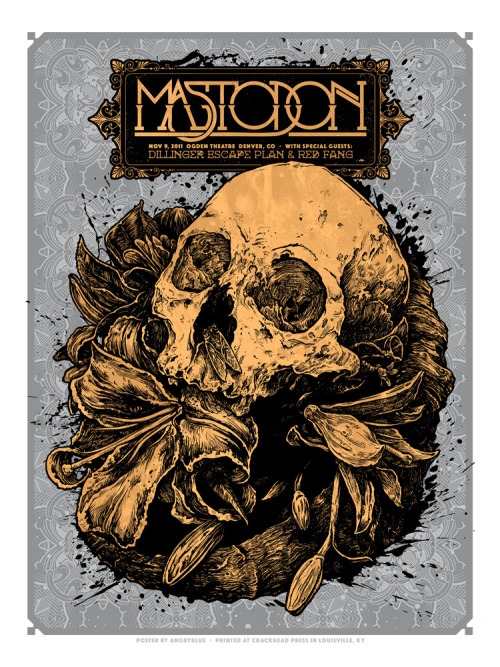 The mighty Mastodon! This 5-color print was a labor of love. I put a series of process photos on my Facebook account as I was working through the initial pencil drawing.  2 tones of gold and 2 tones of silver make this thing a shiny beast. 18x24 and limited to a signed/numbered run of 180. $30 (+shipping) www.angryblue.com