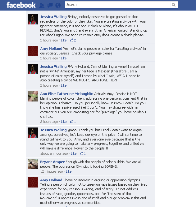 Having fun calling someone out on Occupy Philly's Facebook page.  Had enough of this shit this week. Whole post @ http://www.facebook.com/OccupyPhiladelphia/posts/137341269702082 for better context.