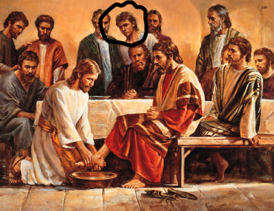 fuckyeahhistorycrushes:  This painting is of Jesus washing the apostles feet. I'm not sure who that lad in the background is, but he is mighty easy on the eyes. My friends should know better than to show me paintings, because I'm more than likely going to first scope out the attractive men.. Tsk tsk.