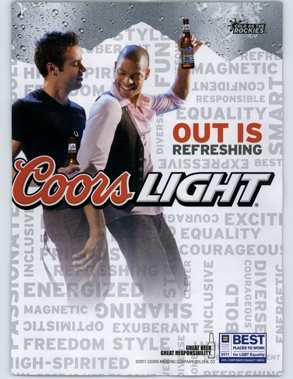 Out is Refreshing. Nice, Coors.