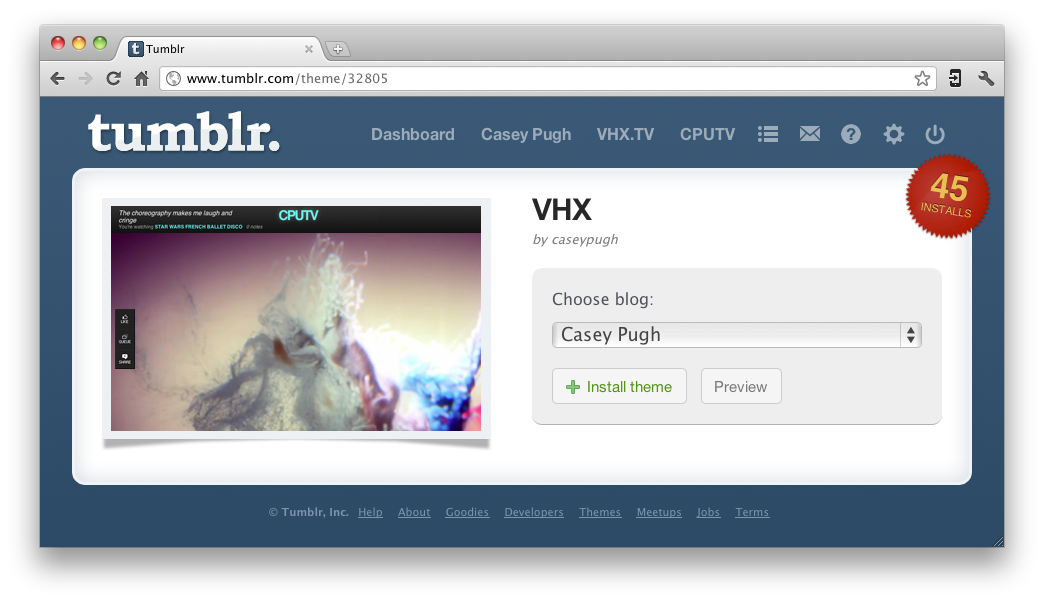The VHX Tumblr theme, custom built for video blogs, is now available in the Tumblr theme directory. Click to install →