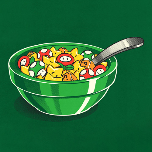 justinrampage:  Start your day off right with a super large bowl of Mushroom Kingdom cereal! Vote Patrick Spens' shirt design up at Shirt.Woot to see it print. Breakfast of Plumbers by Patrick Spens