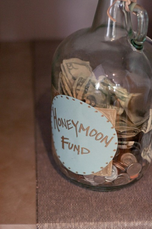 agirlwithoutroots:  lacedinweddings:  Honeymoon Money Jar Place a jar at each table and see how much money you can take with you on your honeymoon.  With alcohol involved, some guests might have way too much fun with it.