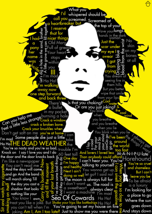 Jack White, his Dead Weather albums and lyrics, minimal poster made by me (Santiago Otálora ô)