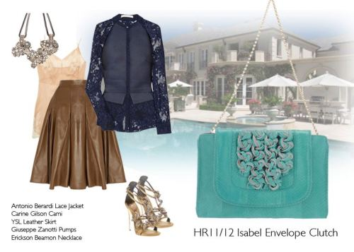 How to Wear… The Holiday/Resort Isabel Envelope Clutch Antonio Berardi Lace Jacket Carine Gilson Cami YSL Leather SKirt Guiseppe Zanotti Pumps Erickson Beamon Necklace