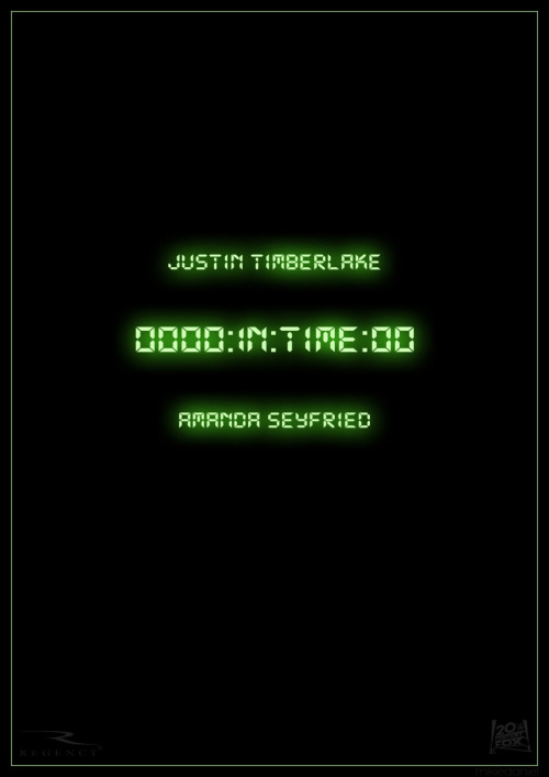 minimalmovieposters:  In Time by mikiedaniel  Man, I loved this movie. And it was not a great movie, but that didn't stop me from loving it.