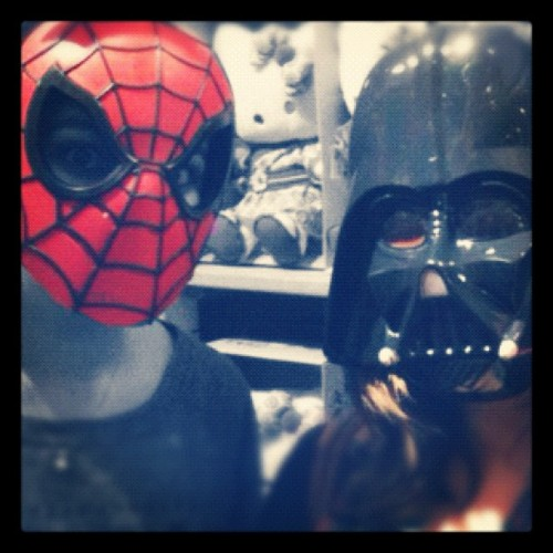 Spotted at the #galerieslafayette : Dark Vador and Spiderman shopping together. Oh well. @anaisvatinel (Taken with instagram)