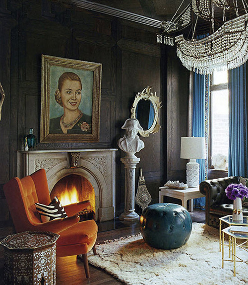 Eclectic living room with a naval theme - and an amazing crystal ship chandelier - by interior designer Jonathan Adler