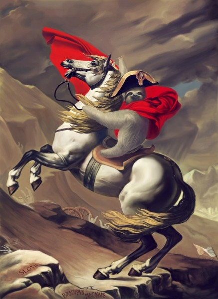 SLOTH NAPOLEON RIDING A HORSE!!! by Sebastian Gomez de la Torre I saw this while Elizabeth was sitting across from me, doing work. I asked if I could interrupt her business for a second to show her some art that we should own, framed in our house. God, I love this. (via: Juxtapoz, boombashpow, rhamphotheca)
