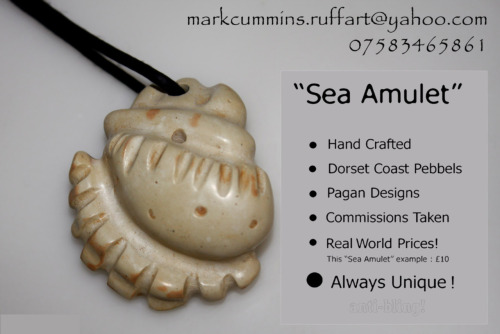 Sea Amulet - Anti Bling A spiritual pendant and connection to the coast and the sea. Hand shaped with diamond tipped tools, from a pebbel taken (with permission) from Kimmeridge Bay, Dorset. This now hangs around a lovely German ladies neck called Gabby.