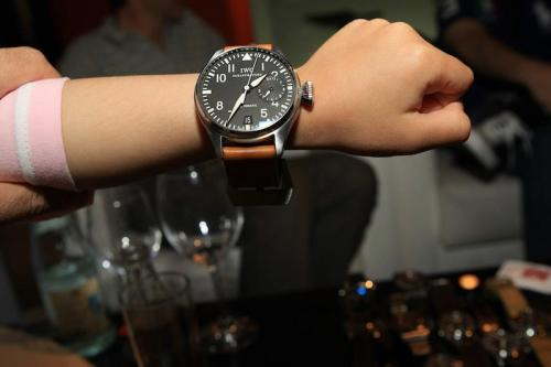 Some kid trying on her dads' 46mm IWC Big Pilot, that's a lot of watch for a 6-year old.