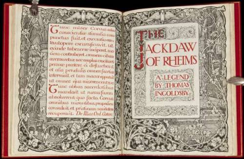 "The Jackdaw of Rheims Thomas Ingoldsby. Early 20th Century.  10 leaves. Text in black ink with red, green and blue initial letters. Elaborate pen & ink illustrated borders on title page and facing leaf; two large initial letters, one colored and one with a pen & ink illustration; two small illustrations and a large tail-piece vignette also in pen & ink; other decorations in green and red throughout. 29x22 cm. (11½x8¾"") bound in full red morocco, gilt illustrations on front and rear, spine lettered in gilt, calf-backed clamshell box.  A lovely illustrated manuscript of the classic Jackdaw of Rheims from the Ingoldsby Legends. A very skillfully rendered manuscript with remarkable pen & ink drawings, the artisan unfortunately unidentified. Bound by Bayntun-Riviere."