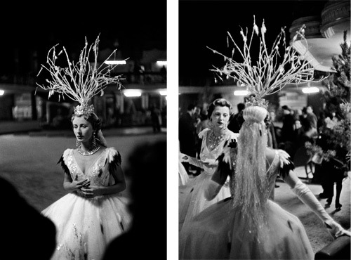 "(via 20x200 - Print Information | Bal d'Hiver, Paris, 1955. Cynthia Balfour rehearsing ""Fire Vanquished by Snow.""   Bal d'Hiver, Paris, 1955. Cynthia Balfour, back to camera, and Baroness de Cabrol., by Inge Morath)"