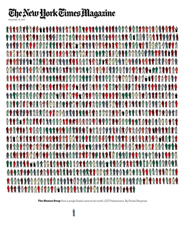 'New York Times Magazine' cover illustrates 1,027 Palestinian prisoners.Tim Enthoven, the illustrator, did each of those people by hand, crazy!
