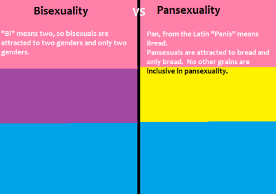 confessionsofahalfdyke:  vioskunk:  Bisexuality vs Pansexuality explained. [based on silly notions of bisexuality meaning only two people keep spewing [using outdated etymology]]  So silly.