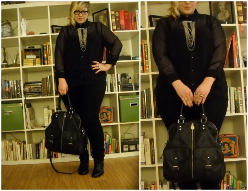 "The buttoned up sheer black shirt I've already posted a bit about this today, but I'm just loving this look and wanted to share the full-body shots. Sheer black shirt - thrifted, Sz 1XBlack skinny jeans - Target, Sz 18Camisole - St. Eve via Nordstrom Rack, Sz XL Necklace - Forever 21Eye Ring - giftQuartz Ring - Stone and honeyBag - fab.com (vegan R+J handbag)Boots - Vintage (found at Room Service in Austin TX)  I'm a 5'9"" queer fat femme and approx size 18"