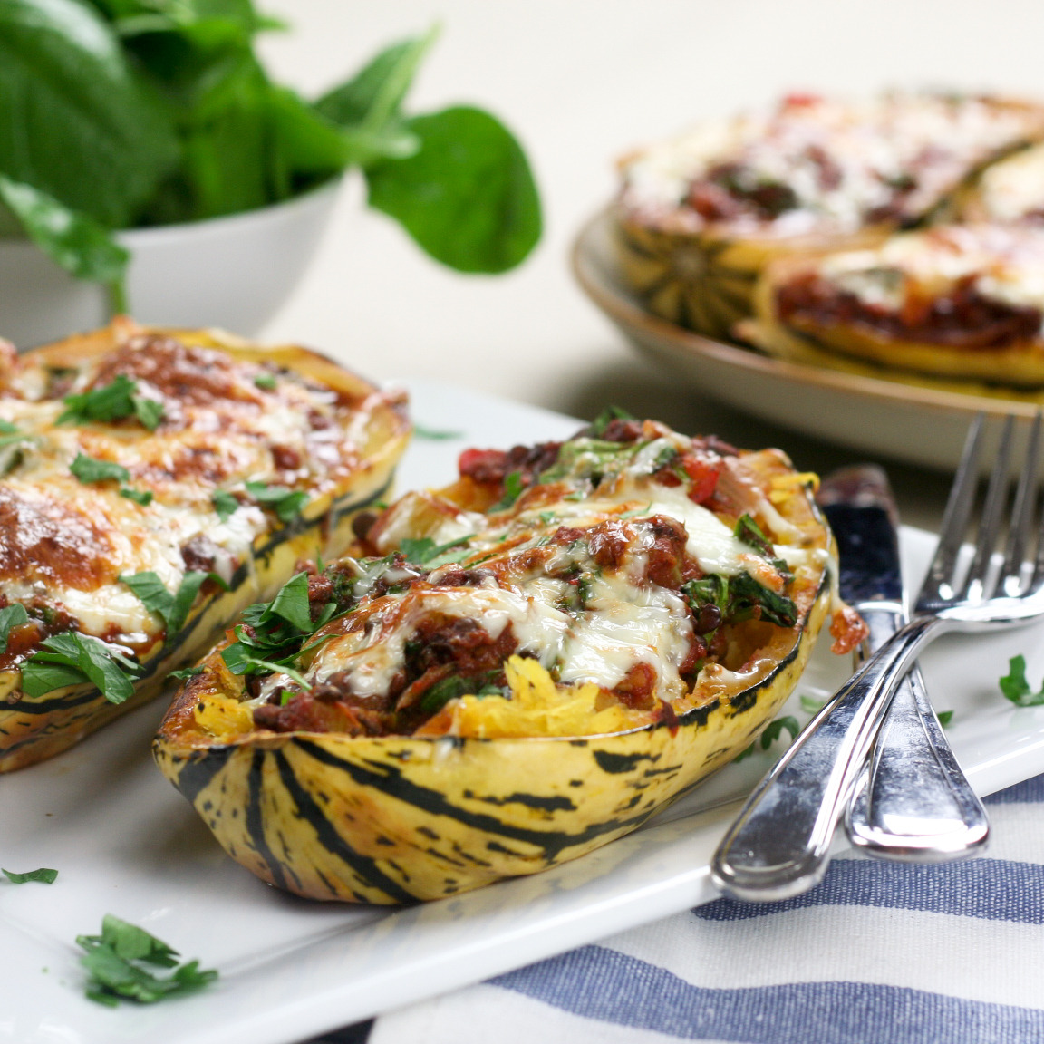"thehealthyfoodie:  Stripetti Squash ""Au Gratin""  Oven baked Stripetti squash with tomato, lentil and spinach sauce, topped with melted mozzarella. Deliciously comforting!"